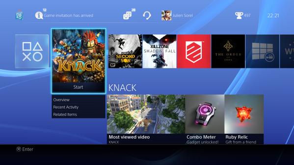 Interface do PS4