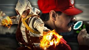 Mario enfrenta Lara Croft, Connor e Master Chief