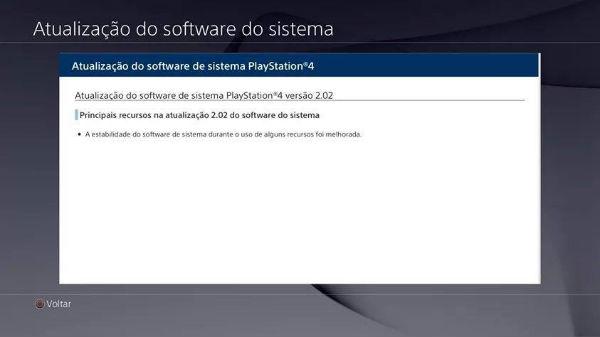 Sony lança Update 2.02 para PS4