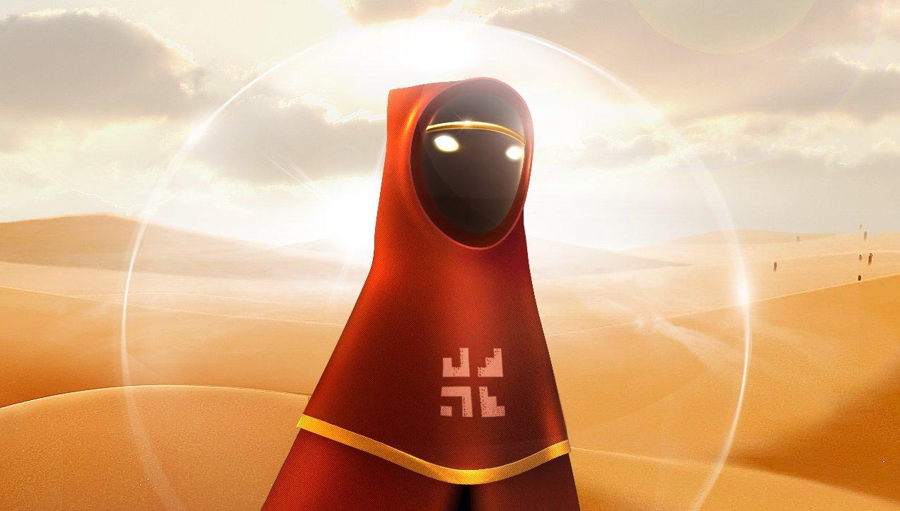 Personagem de Journey de capuz vermelho no deserto.