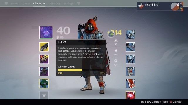 Destiny-TTK nível luz