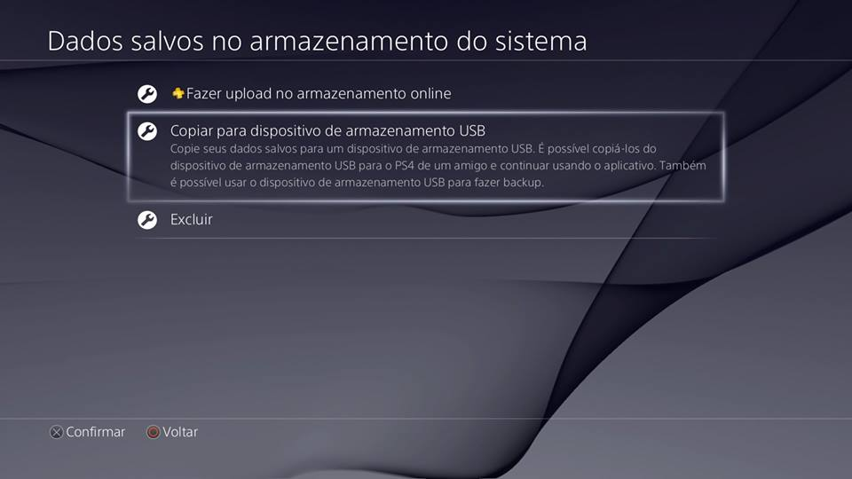 Recursos do PS4 - Copiar no disp. USB