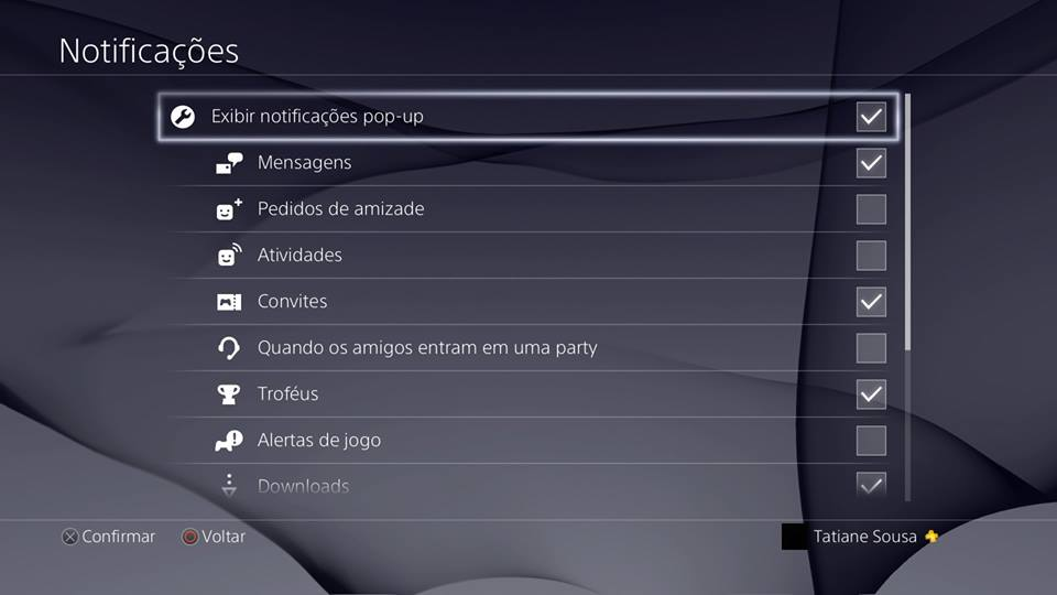 Recursos do PS4 - Notificações