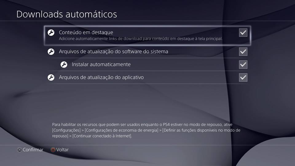 Recursos do PS4 - Downloads automáticos