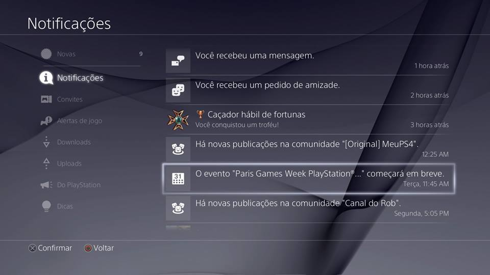 Recursos do PS4 - Notificações g