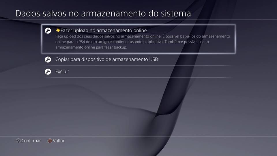 Recursos do PS4- Upload no armazenamento online