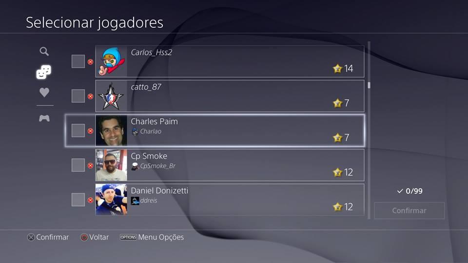 Recursos do PS4 - grupo de mensagens