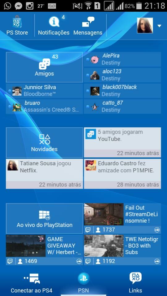 Tela inicial - PlayStation App