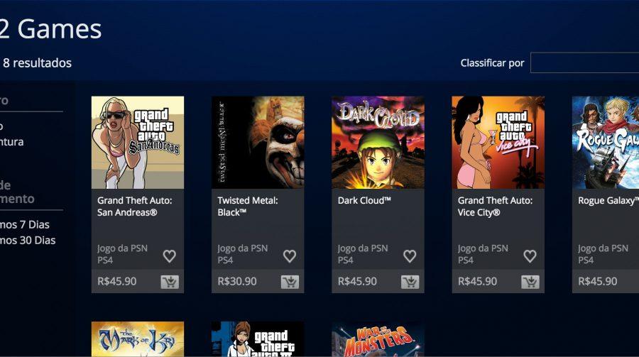 Jogos de PS2 já estão disponíveis para PS4 na PSN