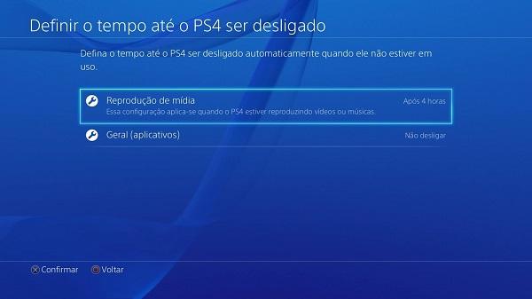 Tempo até PS4 ser desligado
