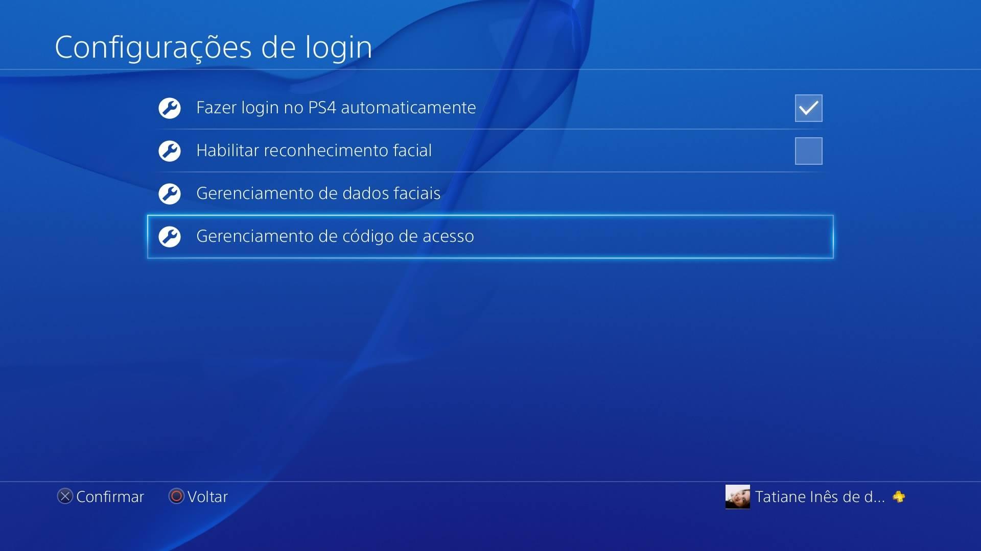 Configurações de login PS4