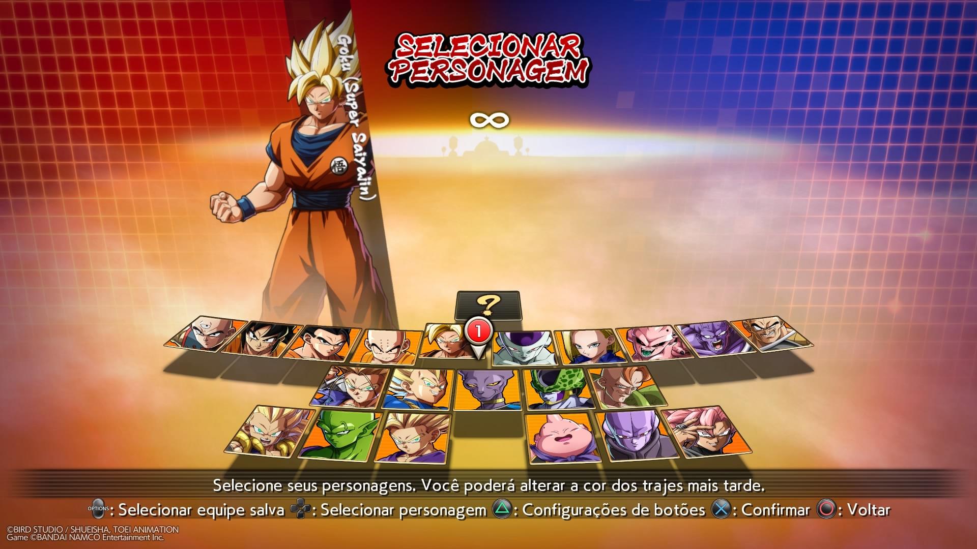 Dragon Ball FighterZ - Escolha de Personagem