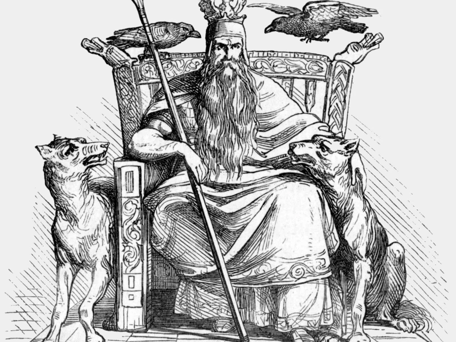 Odin no trono Hliðskjálf.