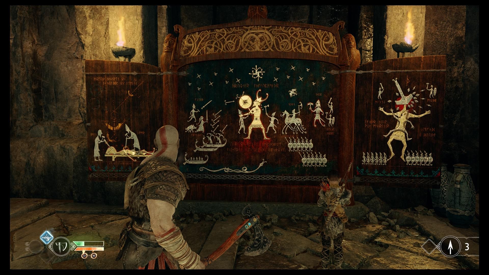 Kratos e Atreus de frente a um quadro.