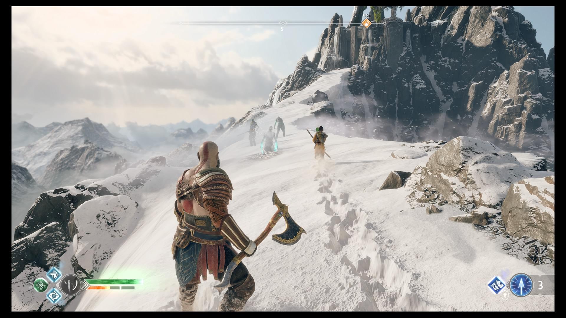 Kratos e Atreus na Montanha Gelada.