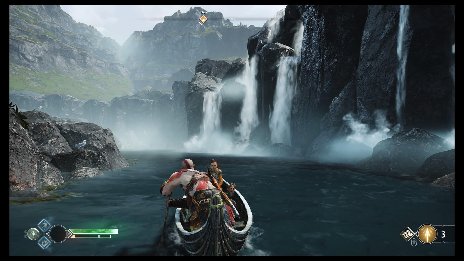 Kratos e Atreus em um barco.