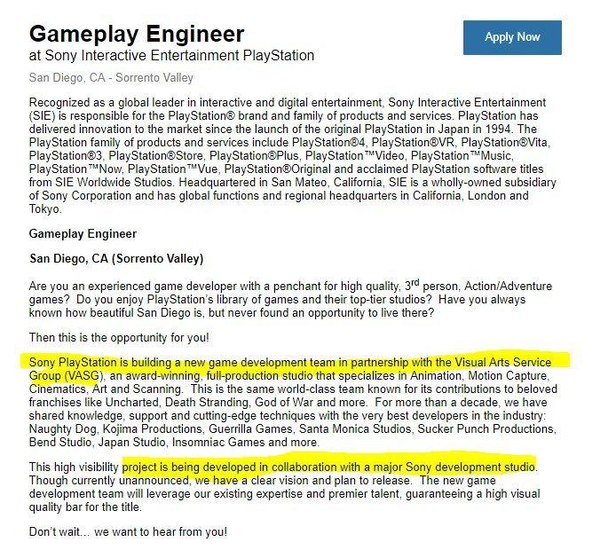 vaga de emprego detalha a criação de um novo time de desenvolvimento na Sony