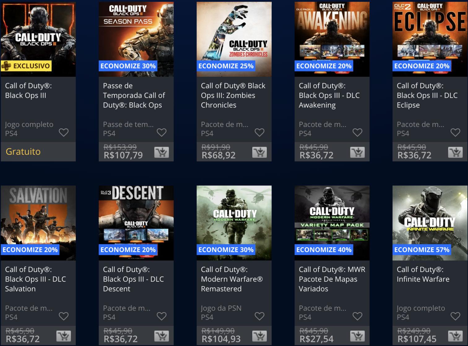 Promoção da semana na PS Store com jogos Call of Duty 4