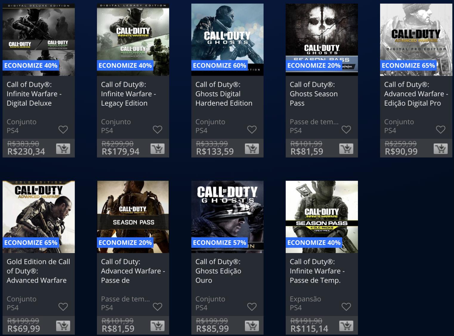 Promoção da semana na PS Store com jogos Call of Duty 5
