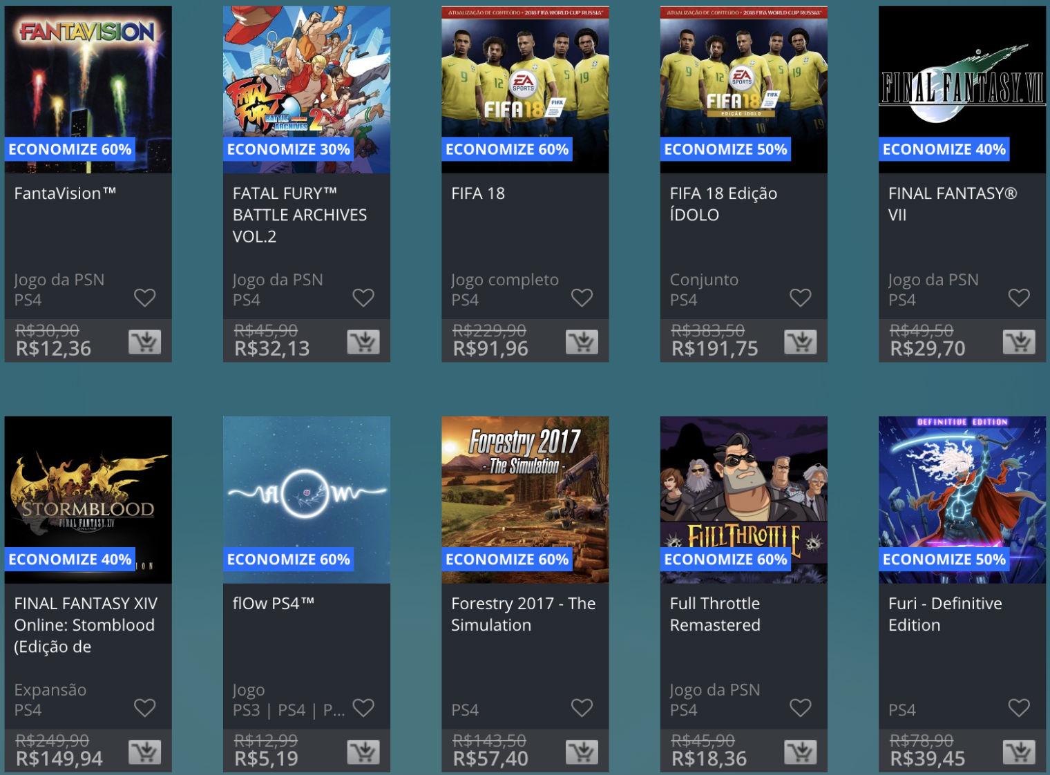 Promoção de Meio do Ano na PS Store com mais de 600 itens com preços que variam de R$ 10 a R$ 200 13