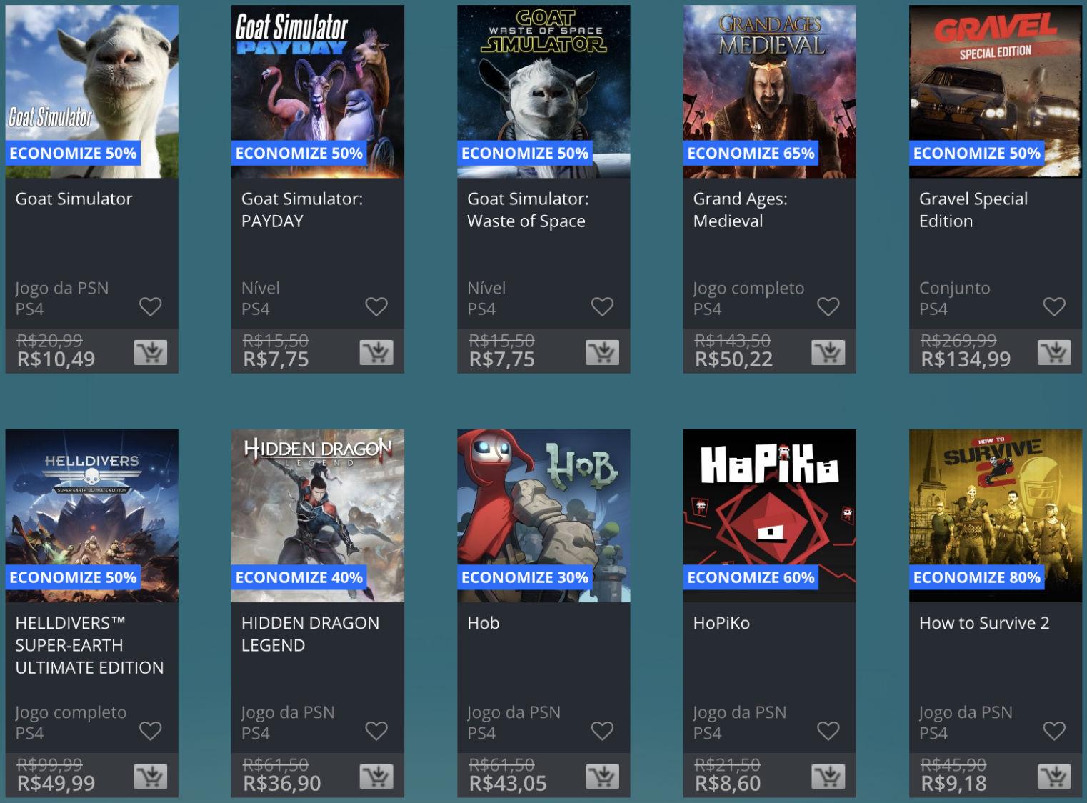Promoção de Meio do Ano na PS Store com mais de 600 itens com preços que variam de R$ 10 a R$ 200 14