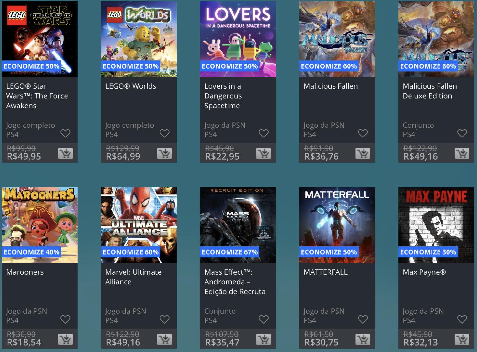 Promoção de Meio do Ano na PS Store com mais de 600 itens com preços que variam de R$ 10 a R$ 200 16