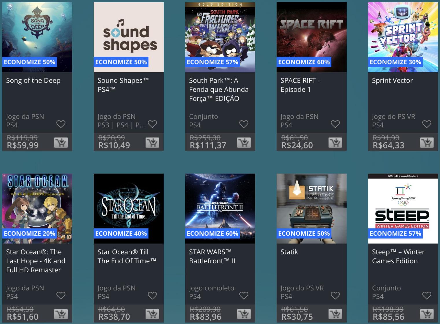 Promoção de Meio do Ano na PS Store com mais de 600 itens com preços que variam de R$ 10 a R$ 200 20
