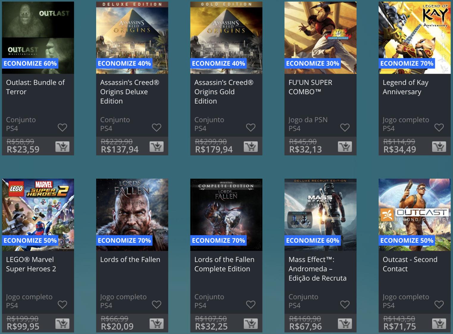 Promoção de Meio do Ano na PS Store com mais de 600 itens com preços que variam de R$ 10 a R$ 200 5