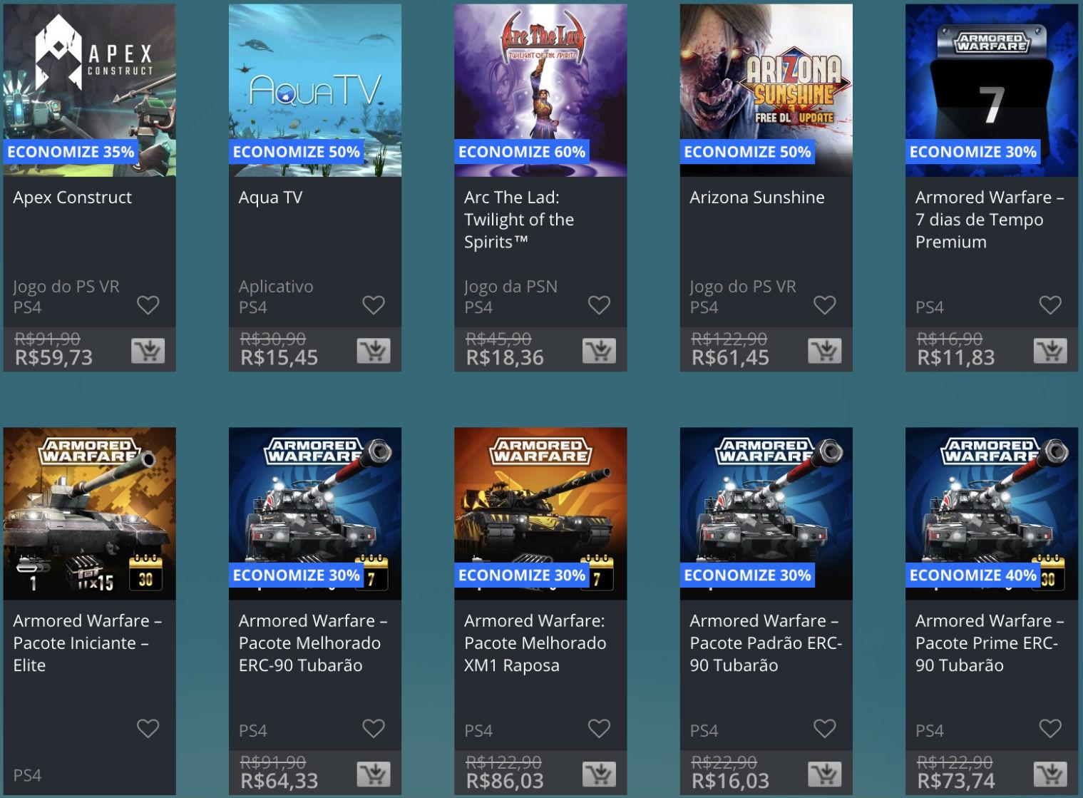 Promoção de Meio do Ano na PS Store com mais de 600 itens com preços que variam de R$ 10 a R$ 200 25