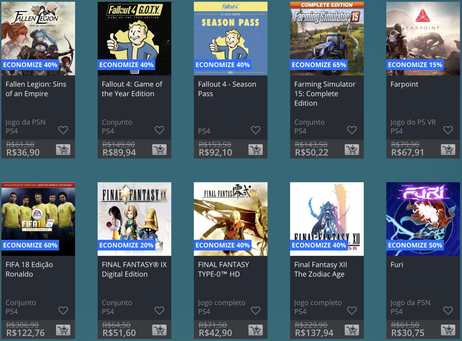 Promoção de Meio do Ano na PS Store com mais de 600 itens com preços que variam de R$ 10 a R$ 200 29