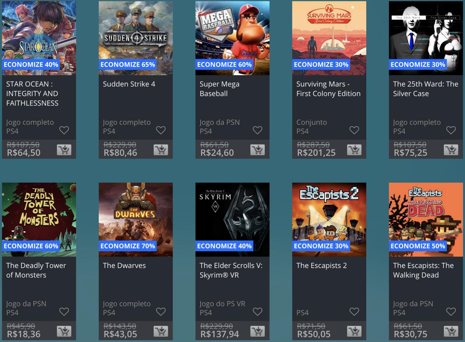 Promoção de Meio do Ano na PS Store com mais de 600 itens com preços que variam de R$ 10 a R$ 200 36