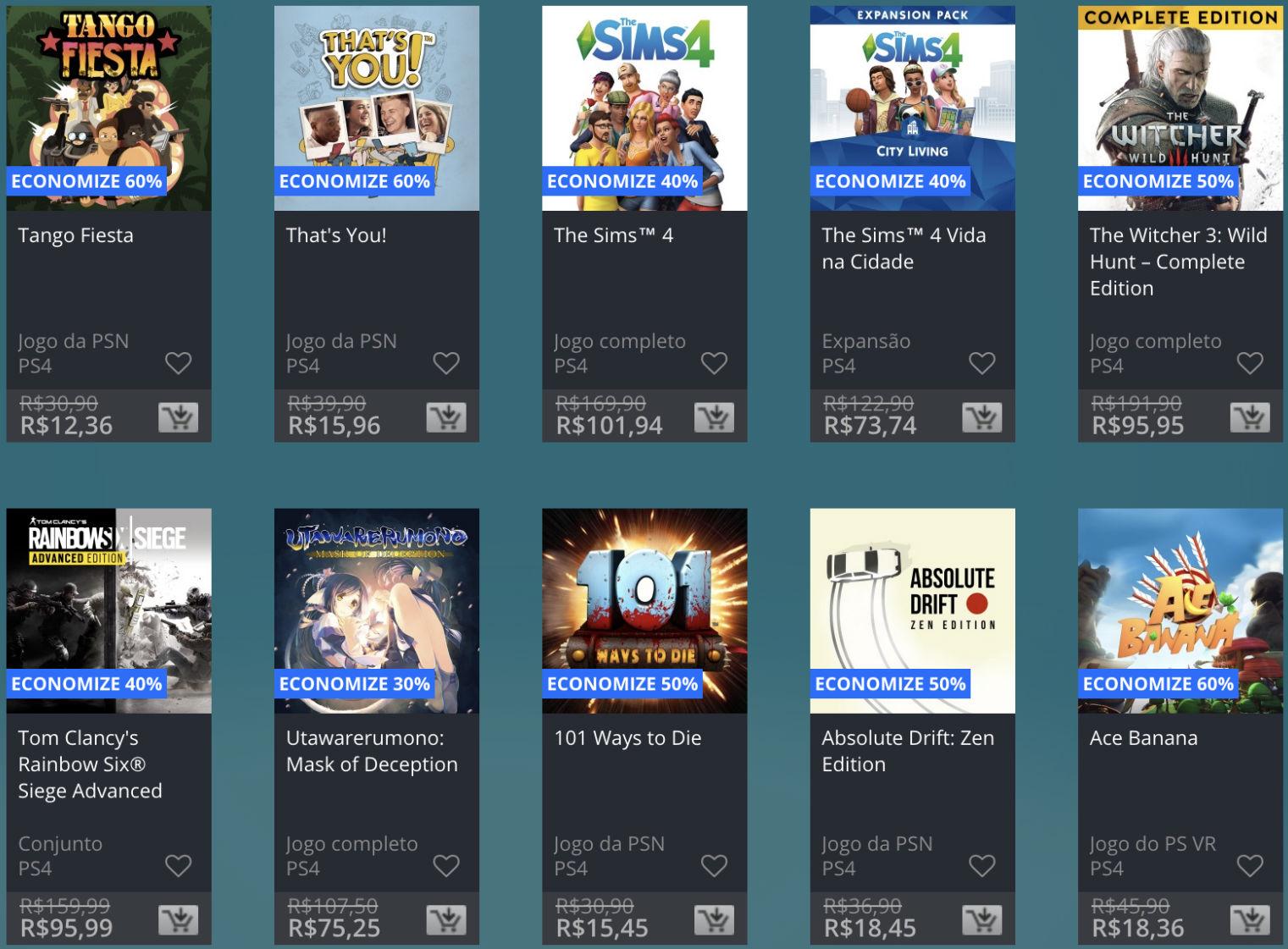 Promoção de Meio do Ano na PS Store com mais de 600 itens com preços que variam de R$ 10 a R$ 200 7