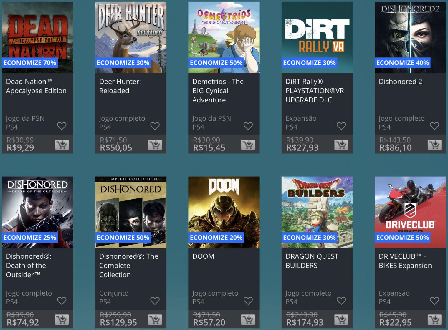 Promoção de Meio do Ano na PS Store com mais de 600 itens com preços que variam de R$ 10 a R$ 200 11