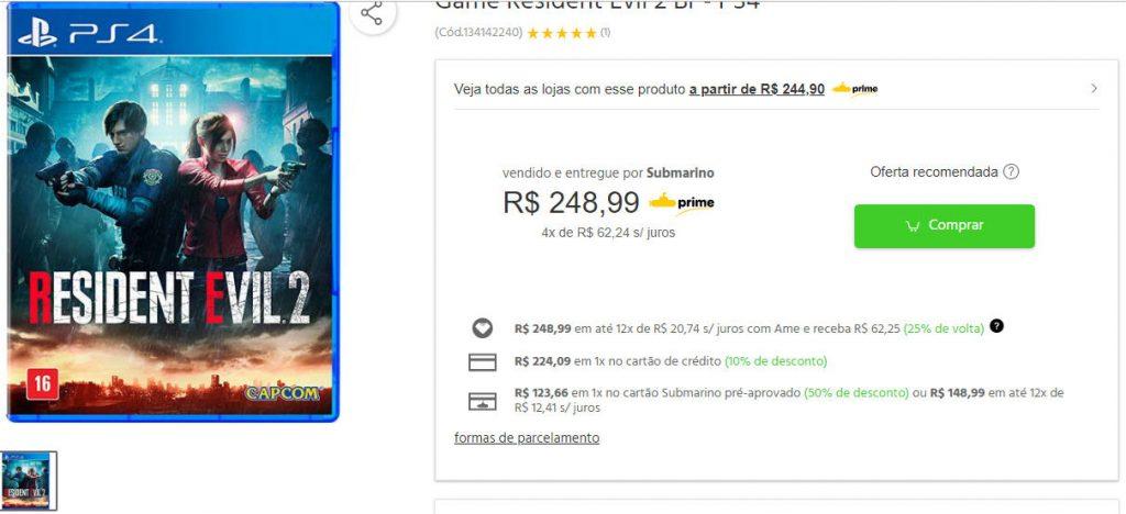 Submarino oferece Resident Evil 2 com 50% de descontos no cartão da loja! 1