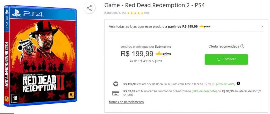 Submarino oferece Resident Evil 2 com 50% de descontos no cartão da loja! 3