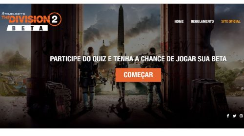 Ubisoft promove QUIZ que distribui códigos do BETA de The Division 2