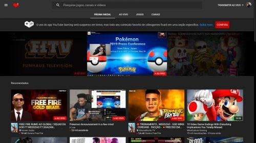 YouTube Gaming será desativado em 30 de maio