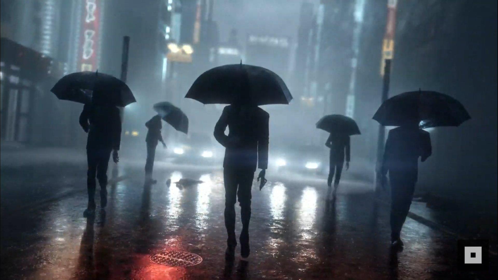 Imagem de Ghostwire: Tokyo com várias pessoas andando na chuva com guarda-chuvas.
