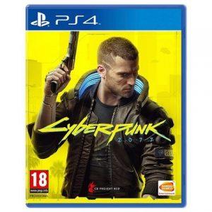 Capa do jogo Cyberpunk 2077 para PS4 com o personagem principal, V, olhando para o lado em um fundo amarelo com uma arma empunhada voltada para cima