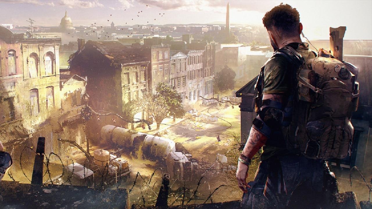 Soldado de The Division olhando para uma cidade em ruínas.