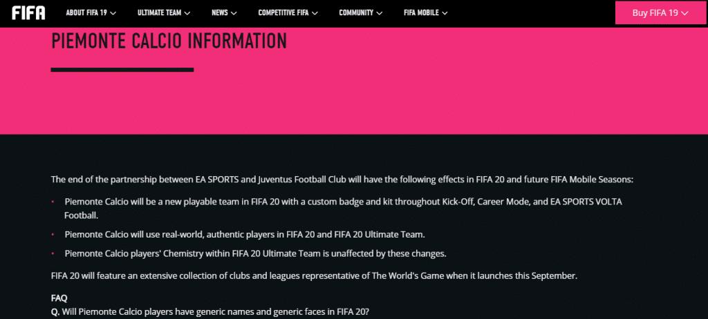 EA confirma Juve Genérica em FIFA 20: Piemonte Calcio 1