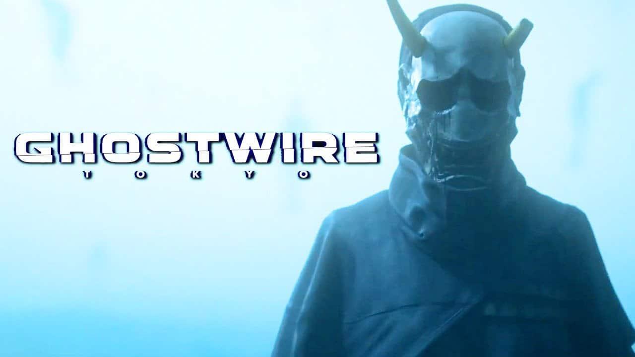 Imagem do protagonista de GhostWire Tokyo com uma máscara e a logo do game ao lado
