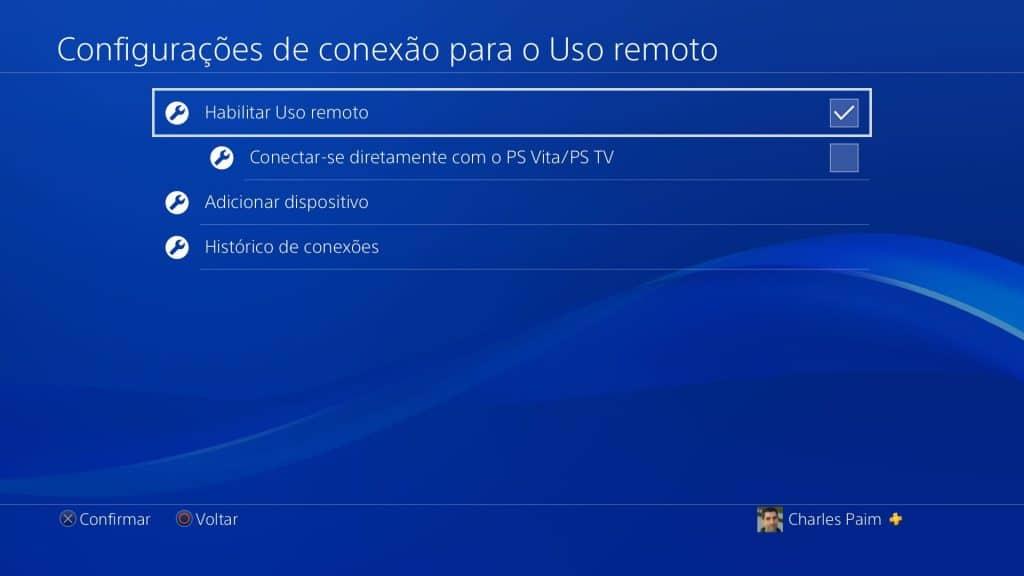 Remote Play - Configurações 3