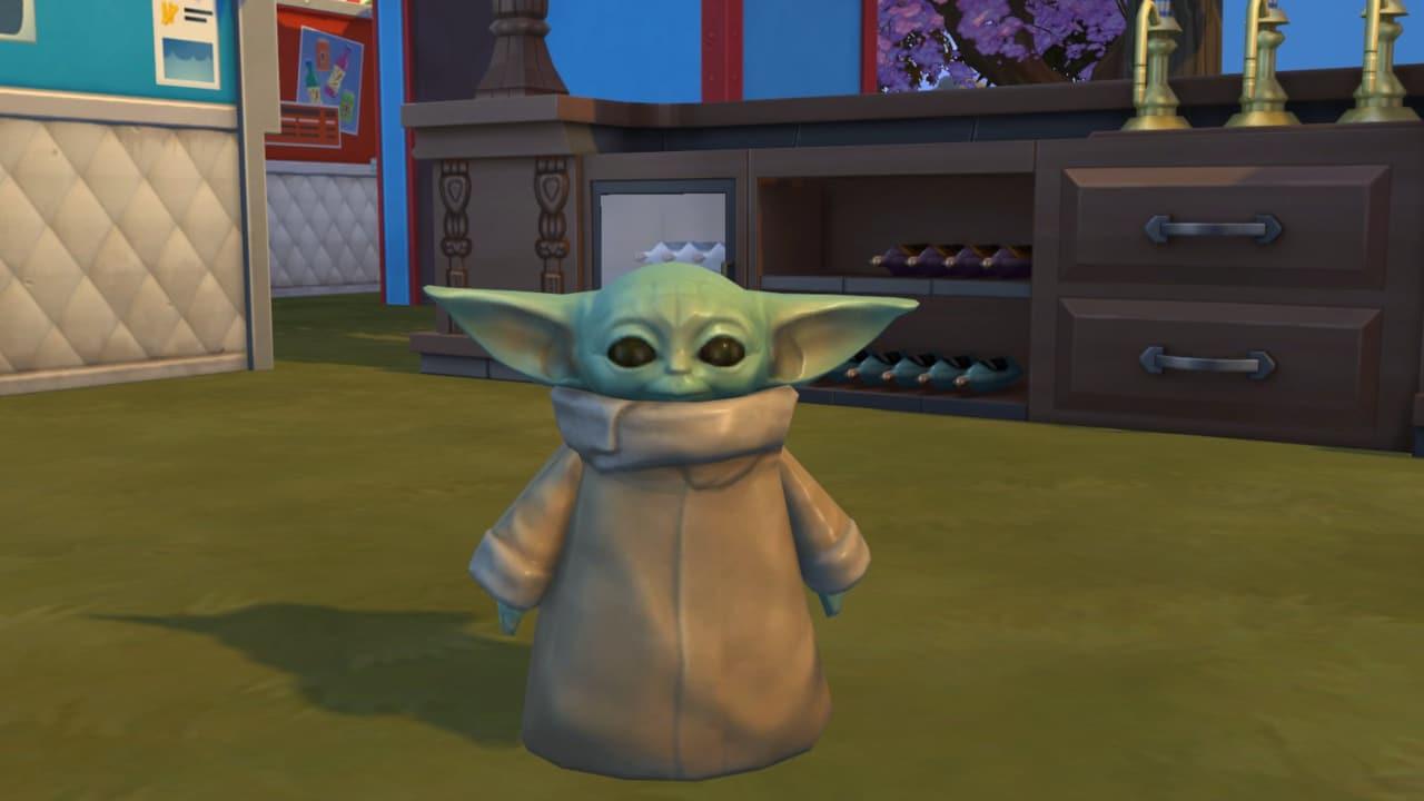 Baby Yoda está em The Sims 4 como uma grande estátua