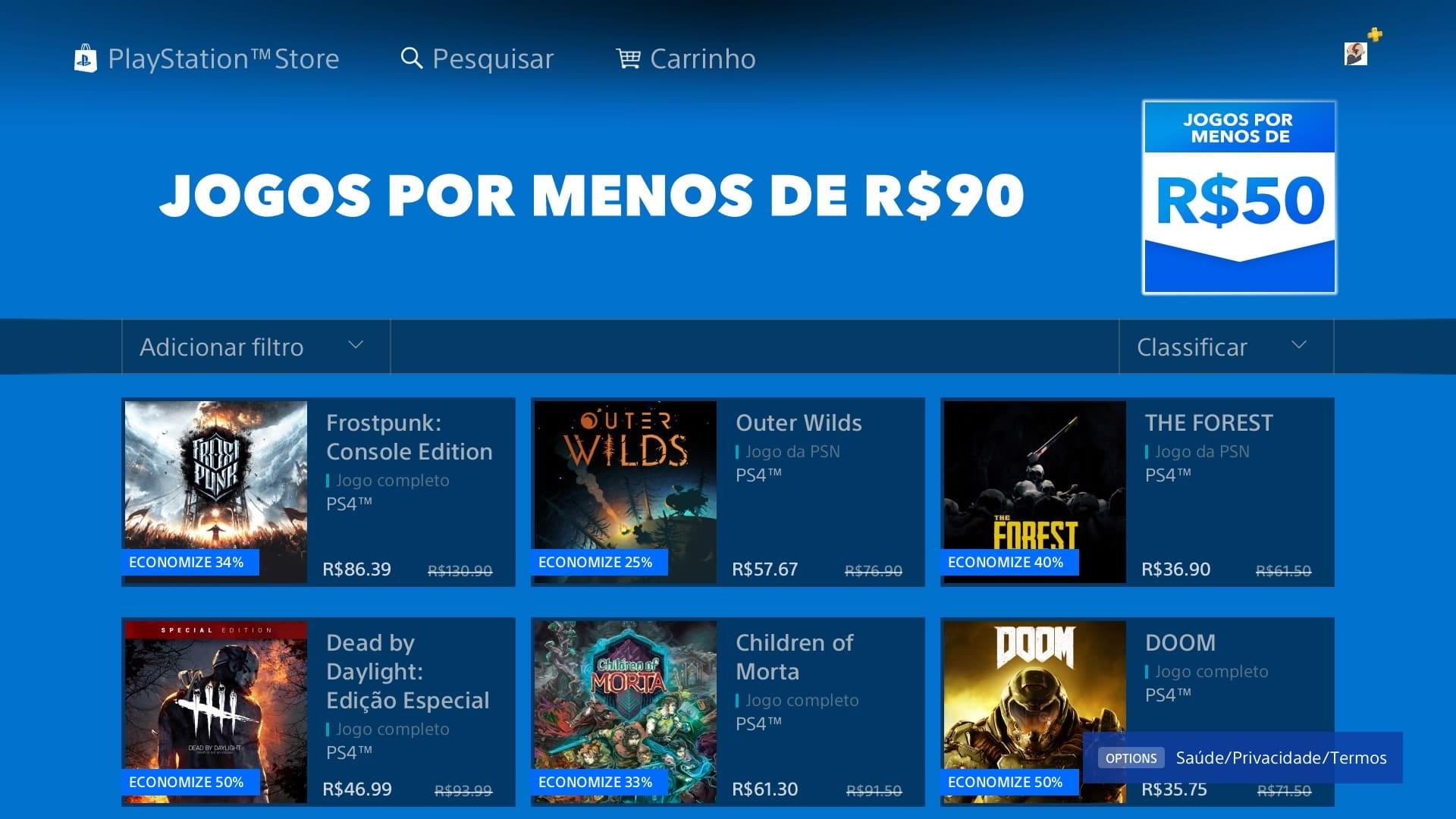 Sony monta lista de jogos por menos de R$90 na PS Store