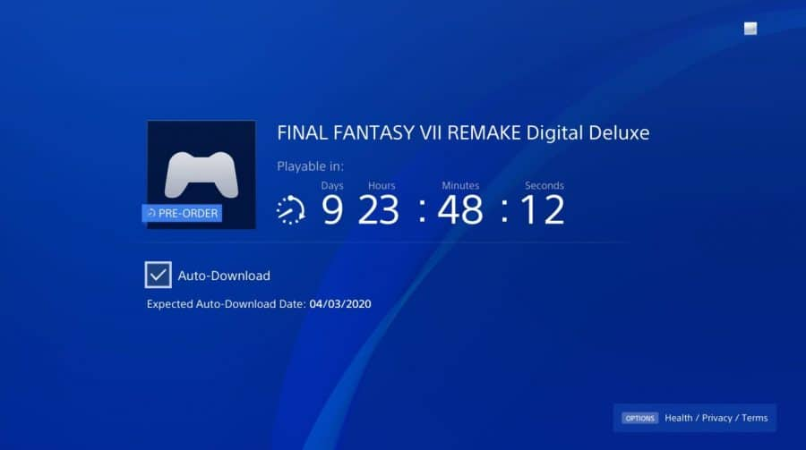 Final Fantasy VII Remake: data do pre-load é alterada