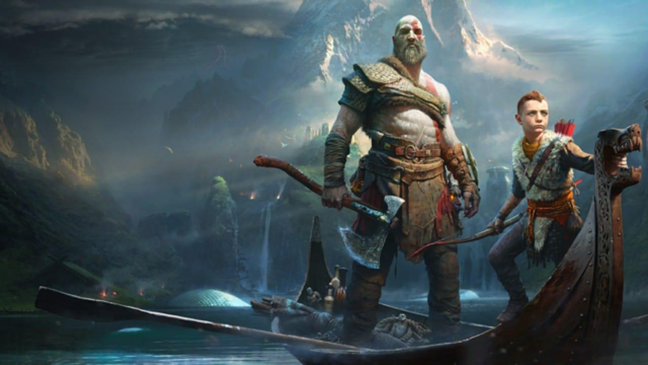 Imagem de capa de God of War com Kratos e seu filho Atreus em cima de um barco