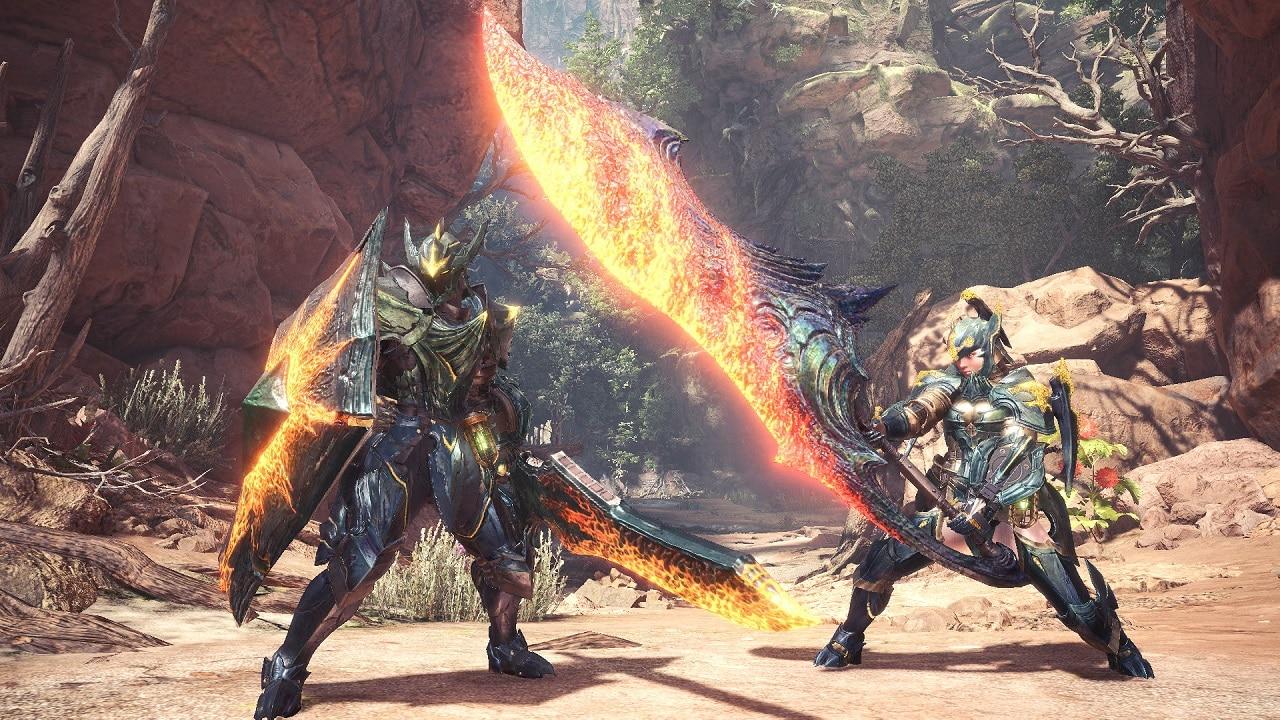 Caçadores de MONSTER HUNTER World em posição de ataque brandando suas espadas.