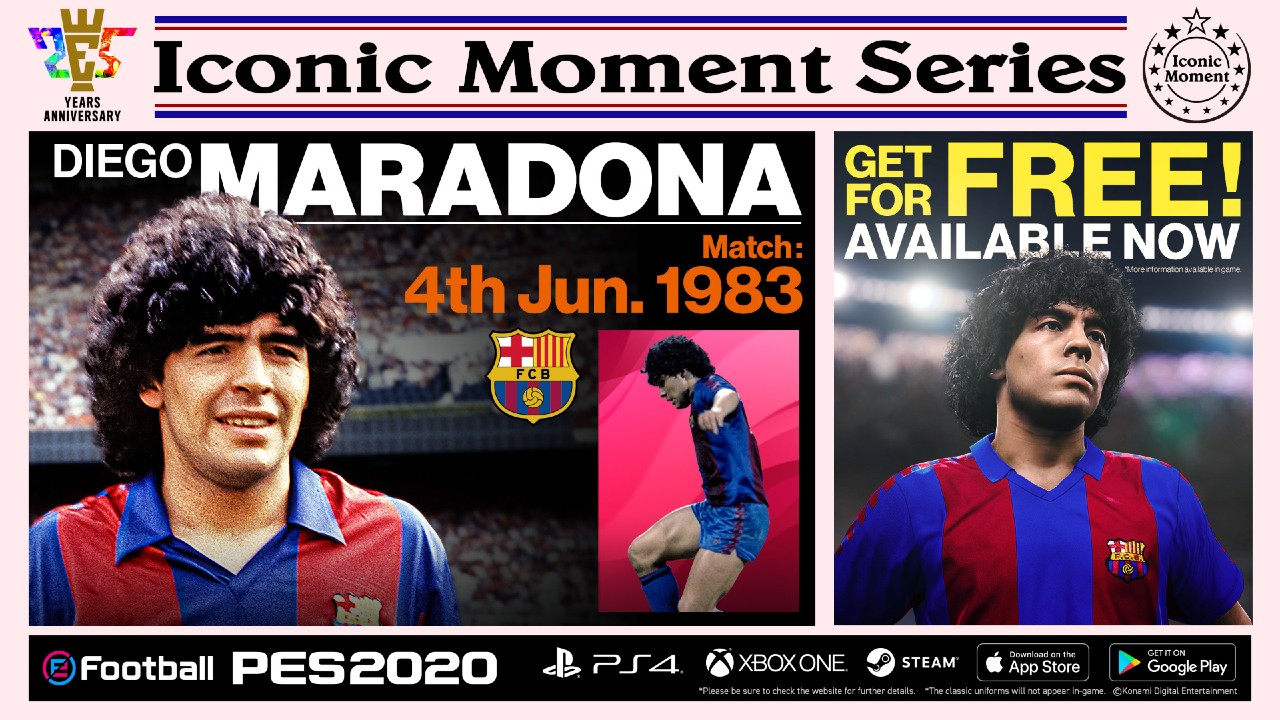 Konami libera patch de eFootball PES 2020 com Diego Maradona