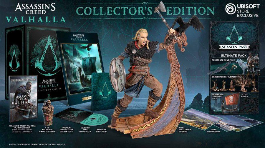 Ubisoft revela edição de colecionador de Assassin's Creed Valhalla com estatueta